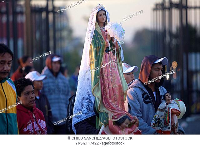 A pilgrim holds an image of the Virgin of Guadalupe at the pilgrimage to Our Lady of Guadalupe Basilica in Mexico City, Mexico, December 9, 2013