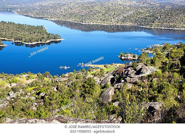 Burguillo reservoir from the Isiruela port in the Sierra de Gredos. Avila. Castilla Leon. Spain