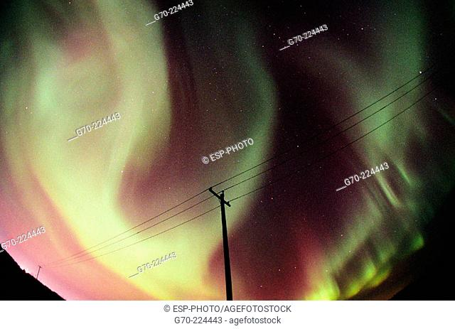 Power lines and Northern lights