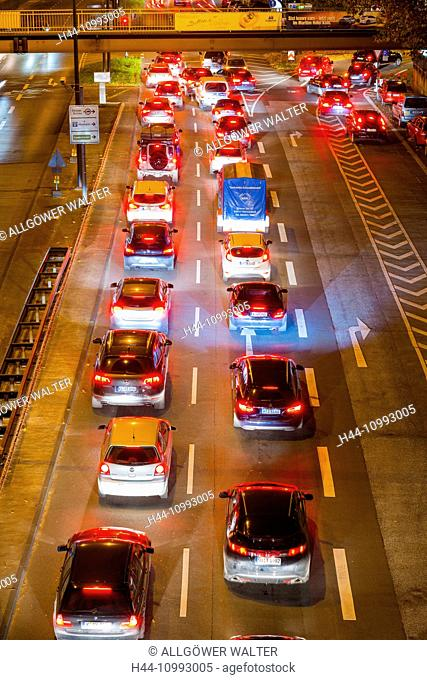 Cars, Automobiles, rush-hour, traffic, blur, brake lights, Germany, Europe, automobiles, Cologne, night, North Rhine-Westphalia, commuter, Rhineland, red