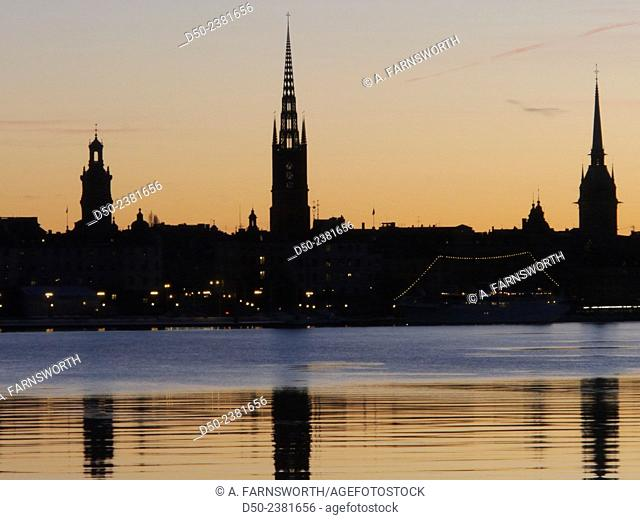 City Hall and Old Town at sunrise, Stockholm, Sweden