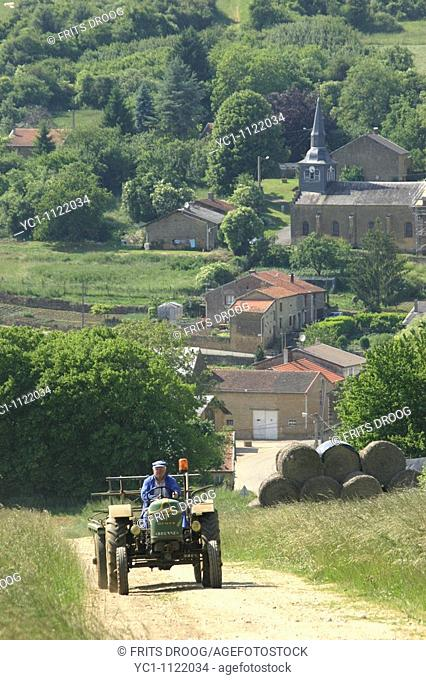 farmer on a tractor on his way from a village to the wood