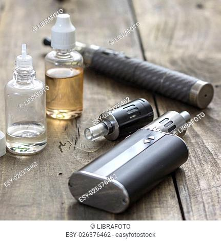 Kit for healthy smoking on wooden table, close up