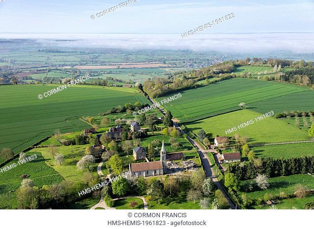France, Calvados, Saint Pair du Mont, Pays d'Auges landscape (aerial view)