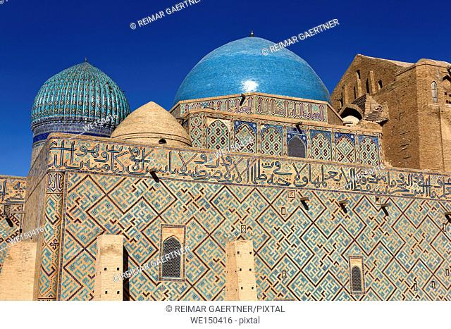 Caligraphy and geometric patterns of Timurid architecture at Khoja Ahmed Yasawi Mausoleum in Turkistan Kazakhstan