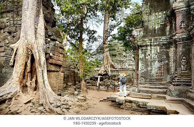Angkor - turist exploring ruins of the Ta Prohm Temple, Angkor Temple Complex, Cambodia, Asia, UNESCO