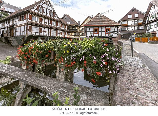 half-timbered houses and brook of Reichenbach with flowers, town Gernsbach, Murg valley of the Northern Black Forest, Germany