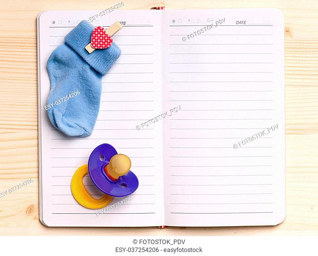 Blank notebook with kids nipple - top view