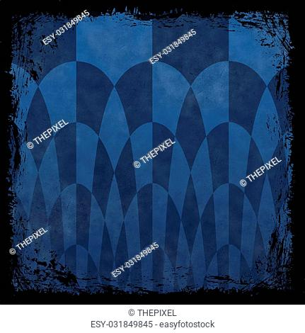 Navy blue grunge background. Old abstract vintage texture with frame and border