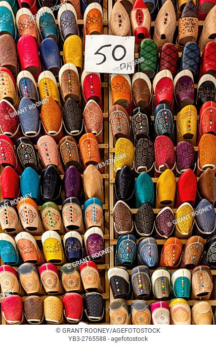 Traditional Moroccan Slippers For Sale In The Medina, Fez el Bali, Fez, Morocco