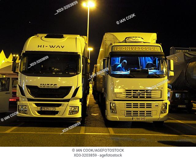trucks waiting for a ferry at the port of Civitavecchia, Italy