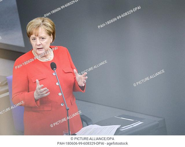 06 June 2018, Germany, Berlin: German Chancellor Angela Merkel of the Christian Democratic Union (CDU) responds for the first time to questions by delegates...