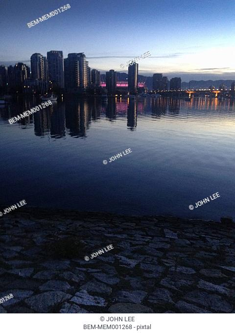 Vancouver city skyline at night, Vancouver, British Columbia, Canada