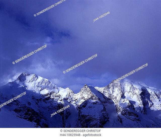 cloud, mood, Piz Bernina, Piz Morteratsch, mountains, Alps, clouds, scenery, landscape, snow, winter, Grisons, Graubun