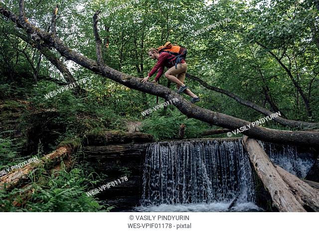 Young hiker with backpack crossing water on tree trunk in the forest