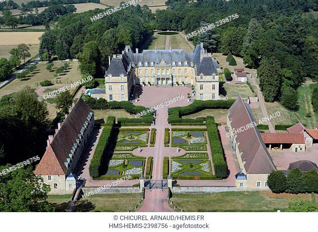 France, Saone et Loire, Curbigny, the castle of Dree (aerial view)