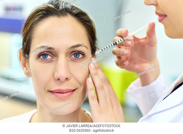 Syringe. Botox, cosmetic medicine. Botulinum toxin treatment involves injecting the toxin into specific parts of the muscles responsible for facial expression