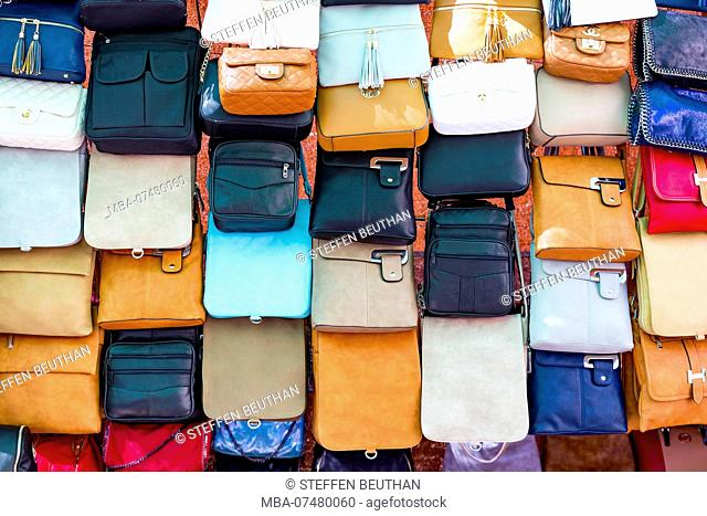 Sale of leather goods, weekly market, Alcudia, north coast of the island of Mallorca, Mediterranean Sea, Spain, Southern Europe