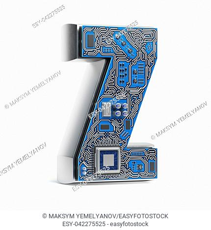 Letter Z. Alphabet in circuit board style. Digital hi-tech letter isolated on white. 3d illustration