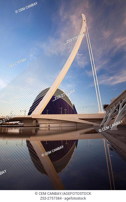 El Pont de l'Assut de l'Or bridge and L'Agora in La Ciudad de las Artes y las Ciencias-City of Arts and Sciences at dusk, Valencia, Spain, Europe