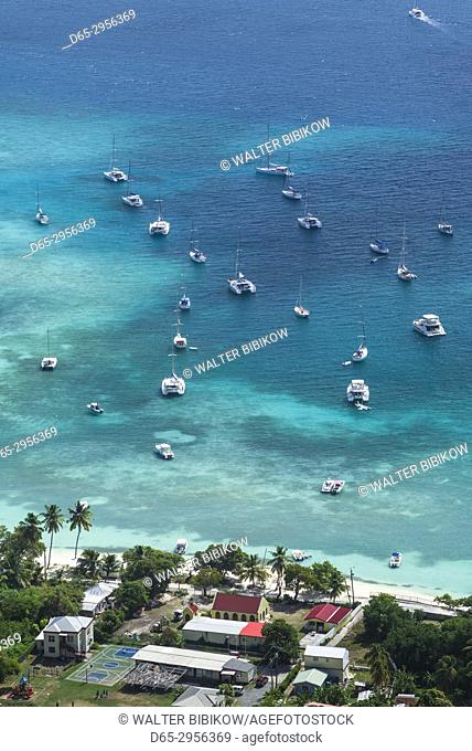 British Virgin Islands, Jost Van Dyke, Great Harbour, elevated view from Majohnny Hill
