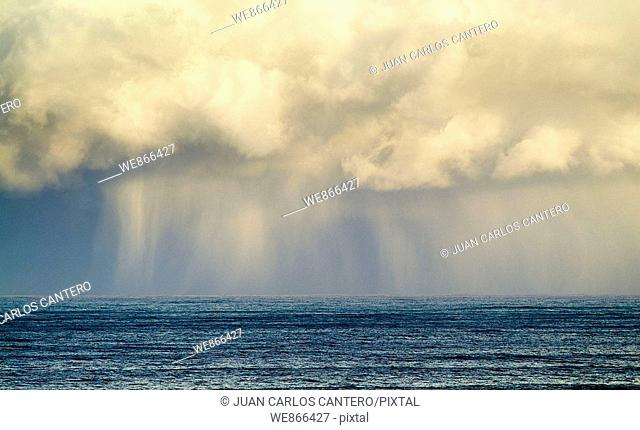 Storm clouds over Biscay coast, Basque Country, Spain