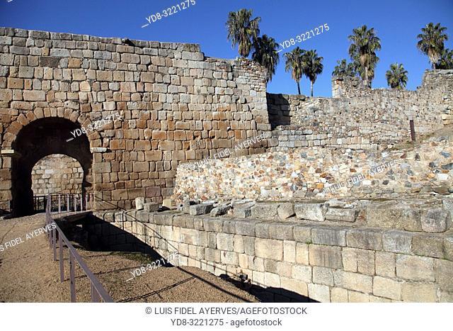 Muslim Alcazaba and Roman wall. Mérida. Badajoz. Extremadura. Spain