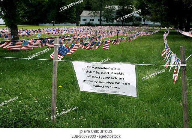 Iraqi War Memorial made of American flags