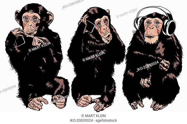 Three monkeys see no evil, hear no evil, speak no evil using modern technology