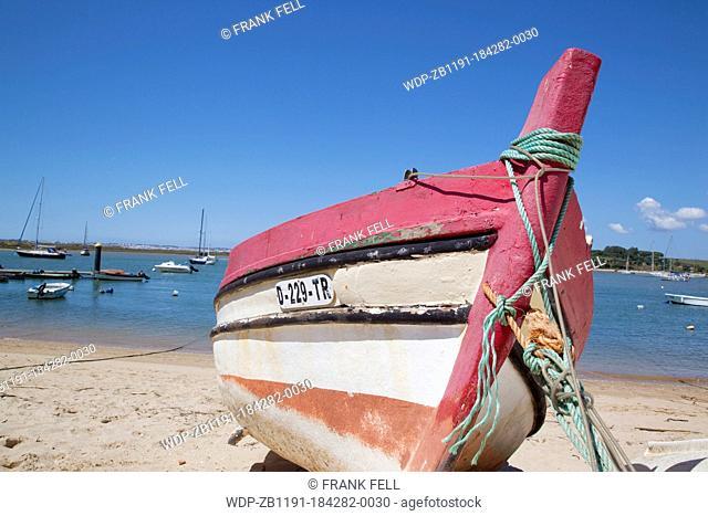 Portugal, Algarve, Alvor, Boat on the Beach