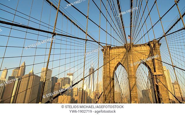 Brooklyn Bridge with Lower Manhattan Skyline,New York City, USA