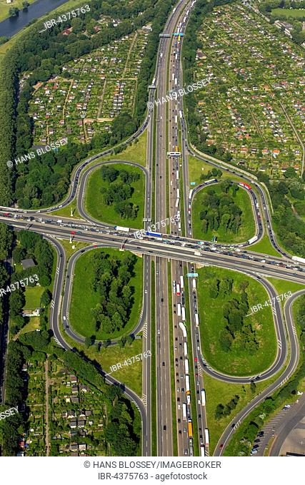 Aerial view, traffic congestion, A59 and A40 motorway, Duisburg, Ruhr District, North Rhine-Westphalia, Germany