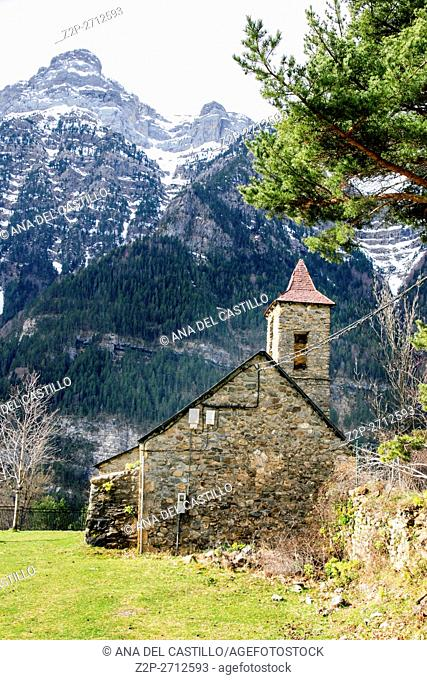 Espierba village Church in the Pyrenees mountains Huesca Aragon Spain