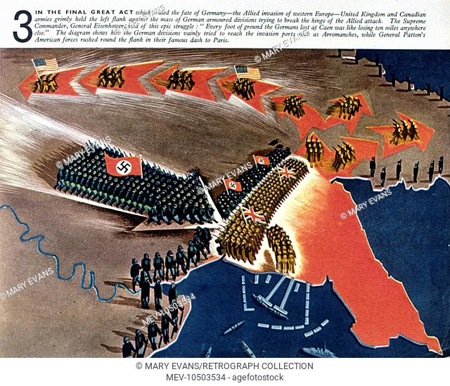 A map showing the Allied invasion of Western Europe during WW2, under General Eisenhower