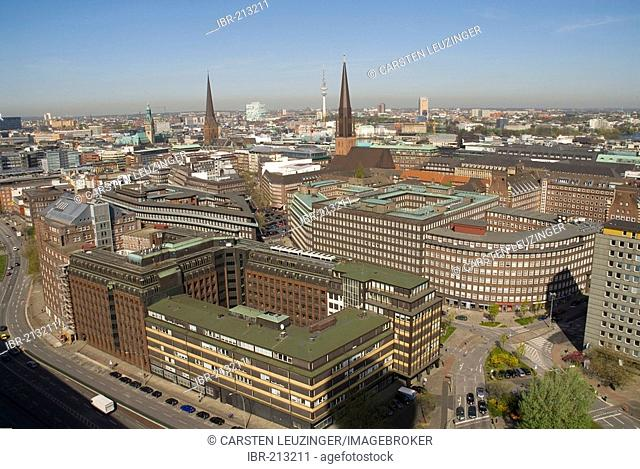 Arial view over the city centre of Hamburg. Building of Heinrich Bauer Publishung House, Sprinkenhof and Chilehaus lying in the foreground, Hamburg, Germany