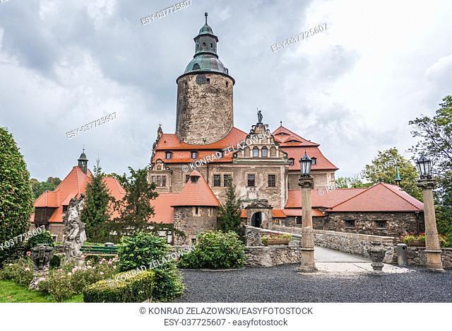 Defensive Czocha Castle in Sucha village, Lower Silesian Voivodeship of Poland