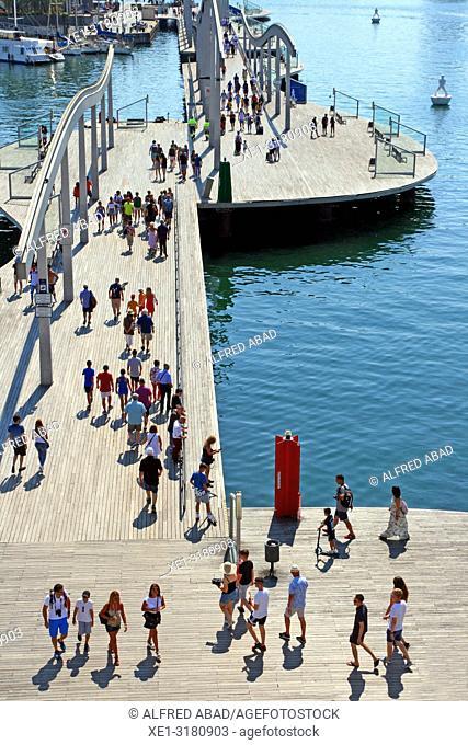 footbridge in the harbor, Port Vell, Barcelona, Catalonia, Spain