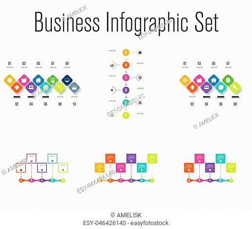 Set with infographics. Data and information visualization. Template. Stock vector. Dynamic infographics stylish geometric