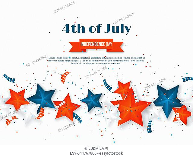4th of July - Independence day of America. American holiday background. 3d stars in national colors with serpentine and confetti. Vector illustration