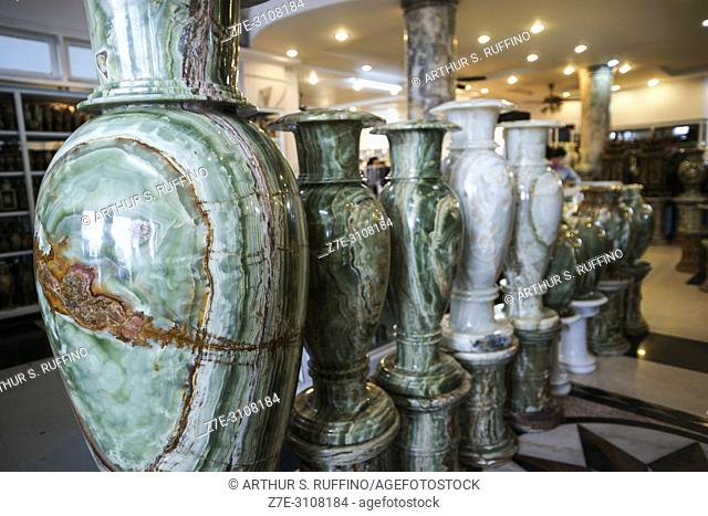 Stone sculptures showroom adjacent to Thuy Son (Water Mountain). Marble Mountains, Ngu Hanh Son District, Da Nang, Vietnam, Southeast Asia