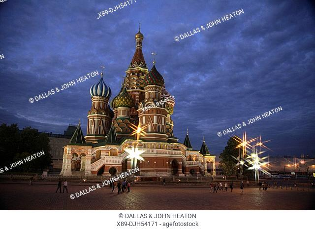 Russia, Moscow, Red Square, St Basils Cathedral, Floodlit