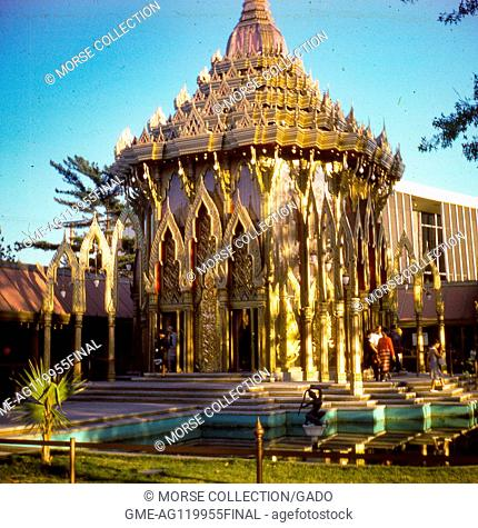 View of the gilded Thailand Pavilion building, inspired by Buddhist shrines in Bangkok, at the 1964 New York World's Fair, in Flushing Meadows, Queens