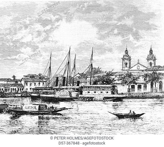 Port of Manaus, Brazil (1884 engraving)