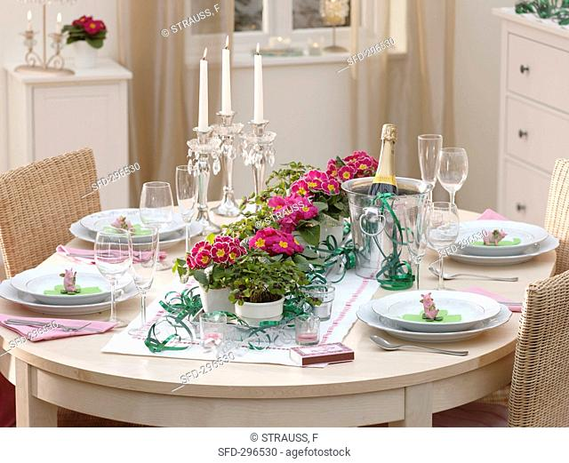 Table decoration for New Year's Eve: primulas, 4-leaf clover, lucky pigs