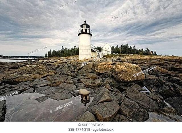 Low Angle, View of the Marshall Point Lighthouse, Maine, USA