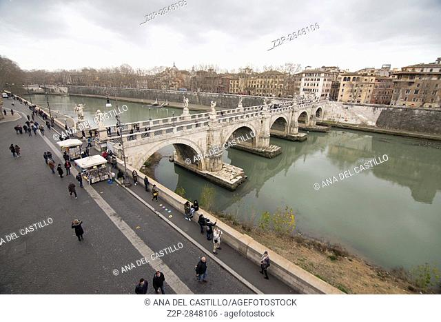 View from the top of St Angelo castle Rome panorama on February 5, 2017 in Italy