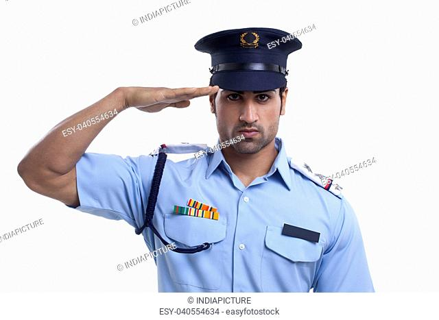 Young guard saluting