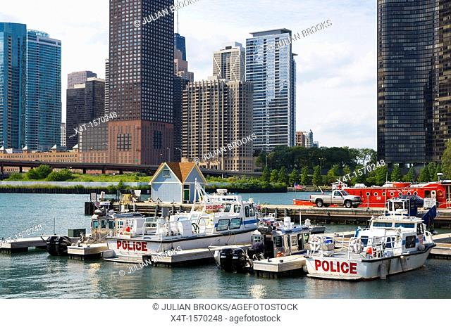 The Port Police headquarters in Chicago with the city in the background