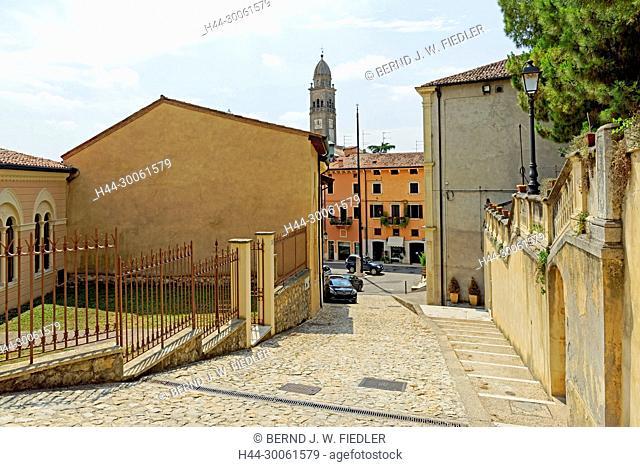 Europe, Italy, Veneto Veneto, Soave, via Castello Scaligero, street view, architecture, building, plants, church, historically, museum, place of interest
