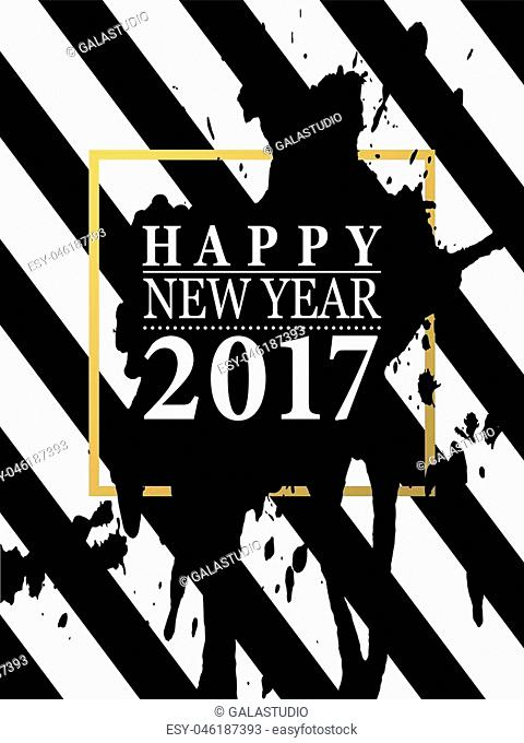 2017 Happy New Year card or background.Trendy style with hand-lettering words.Black, white, gold colors design.Banner template for flat design